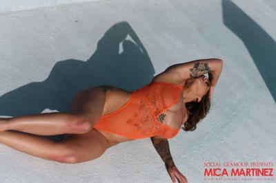 Mica Martinez - Mica Shooting in Her See Through Bodysuit